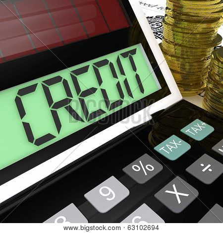 Credit Calculator Shows Financing Borrowing Or Loan