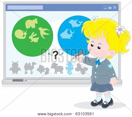 Schoolgirl at the interactive whiteboard