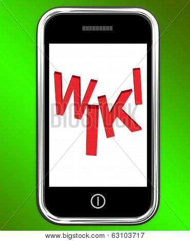 Wiki On Phone Shows Online Information Knowledge Or Encyclopaedia