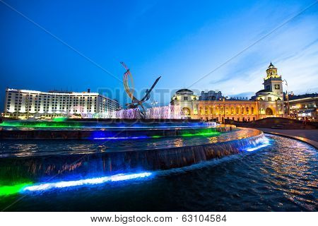 MOSCOW, RUSSIA - JUNE 14, 2012: View of Kievskiy railway station at night. Station was opened 1918 in the Byzantine Revival style pronounced in the 51 m high clocktower.