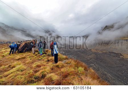 Tourists In The Annapurna Base Camp, Nepal