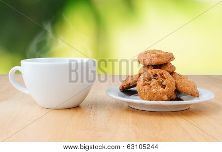 Coffee With Cookies On The Table