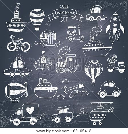 Big doodled transportation icons collection in black and white travel set with retro