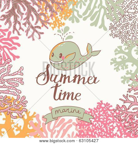 Vector seamless vector background with cute whale. Beautiful corals in the sea. Underwater landscape. Coral reef frame. Summer time