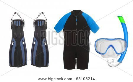 Scuba diving equipment - diving mask, wetsuit and flippers isolated on a white background.