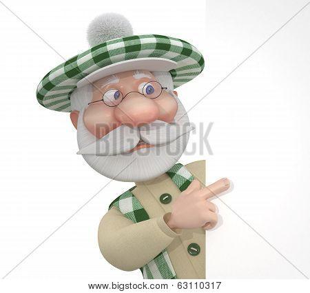 3D Little Man Golfist With A Billboard.