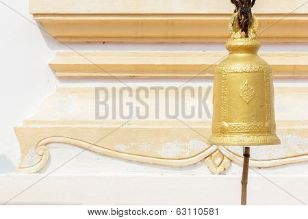 Old Brass Buddhist Bell In Temple.