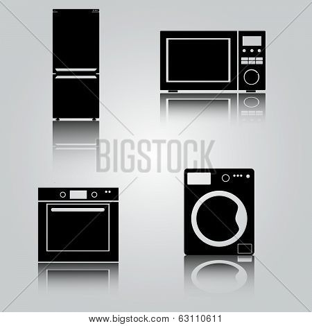 fridge and microwave and oven and washing machine eps10