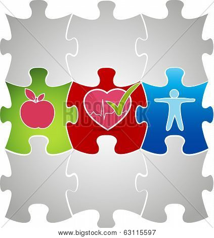 Healthy Living Puzzle Concept. Healthy Food And Fitness Leads To Healthy Heart.