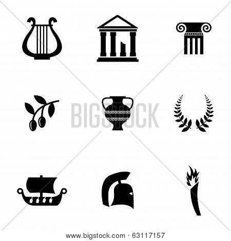 Vector black greece icons set