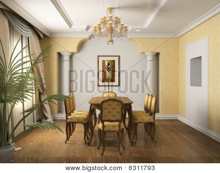 3D Render Classical Interior Of Dining-room