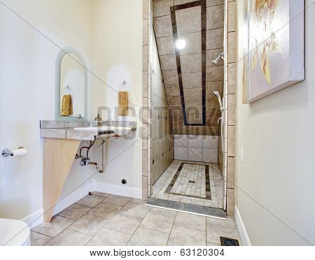 Bathroom With Vaulted Ceiling Shower Area