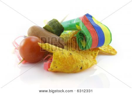 Nachos With Party Blower And Cocktail Stick