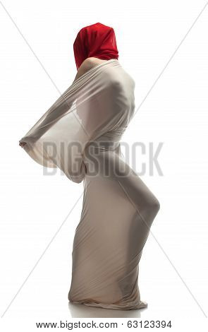 Faceless modern dancer isolated on white