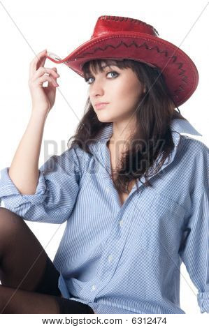 Half-naked Girl In A Cowboy Hat.