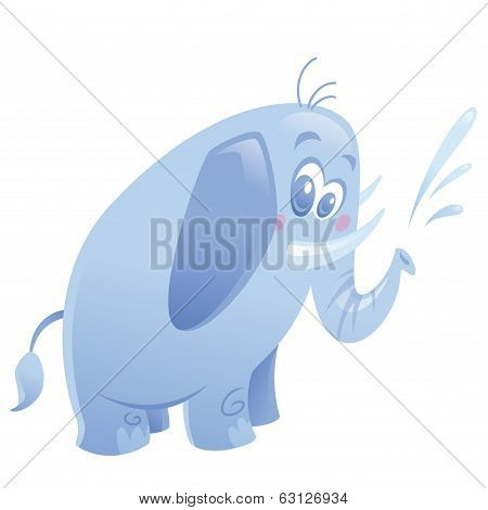 Cartoon Cute Purple Elephant Animal Spitting Water