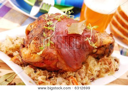 Pork Knuckle Baked With Beer