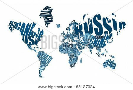 Text world map