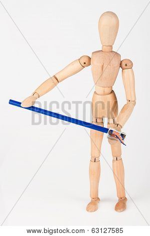 Small Wood Mannequin Stand Sharpen Colour Pencil Isolated On White