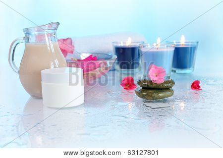 spa still life on blue background
