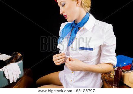 Sexy Retro Stewardess Undressing Or Dressing