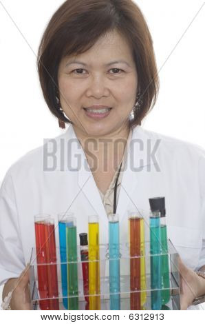 Scientist Holding Test Tubes