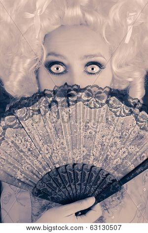 Surprised  Baroque Woman Monochrome Portrait with Wig and Fan