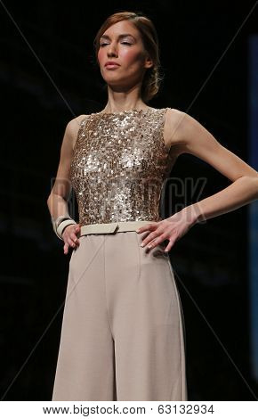 ZAGREB, CROATIA - APRIL 09: Fashion model wears clothes made by Nebo on