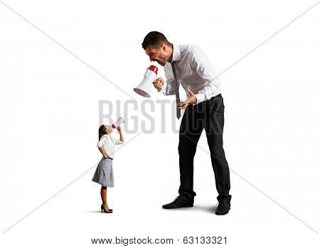 quarrel between discontented man and screaming woman over white background