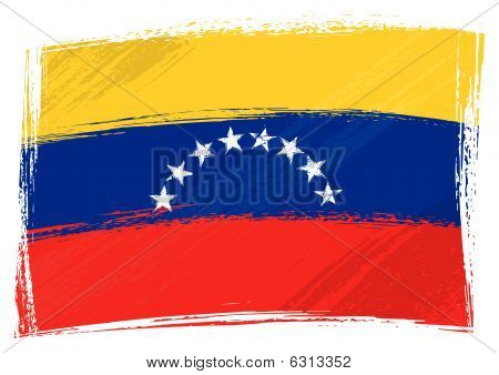 Venezuela national flag created in grunge style