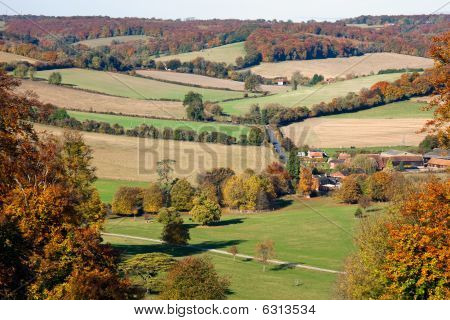 View Over An Autumn Landscape In Oxfordshire, England