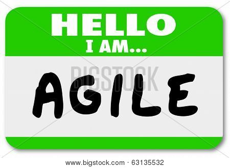 Hello I Am Agile Name Tag Sticker Ability Quick Change