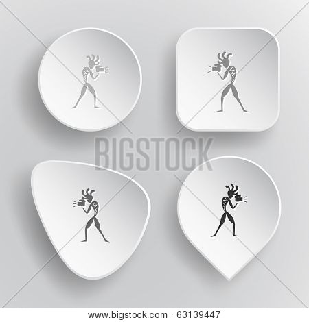 Ethnic little man with camera. White flat vector buttons on gray background.