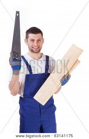 Carpenter Holding Planks