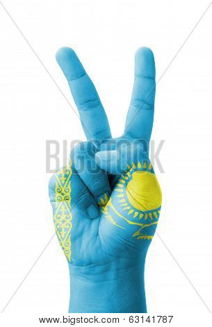 Hand Making The V Sign, Kazakhstan Flag Painted As Symbol Of Victory, Win, Success - Isolated On Whi