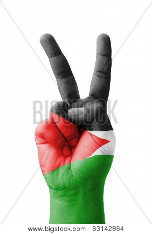 Hand Making The V Sign, Palestine Flag Painted As Symbol Of Victory, Win, Success - Isolated On Whit