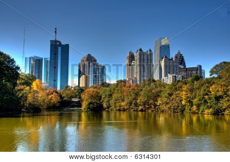 Atlanta Skyline Over Autumn Lake