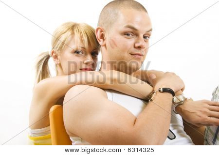 Casual Couple Together On Sofa