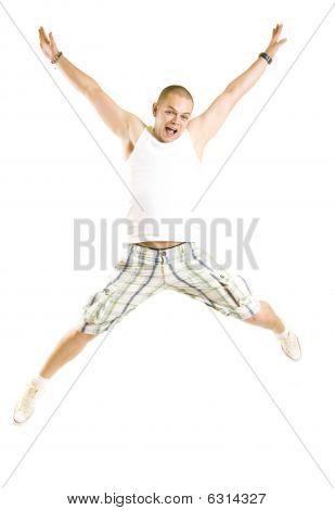 Casual Man Jumping Of Joy