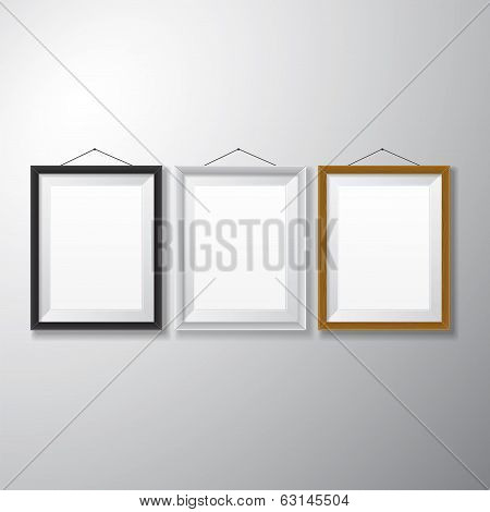 Picture Frames Black White Wooden