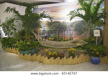 Tropical oasis sponsored by Royal Caribbean at Macy's at Herald Square on Broadway in Manhattan