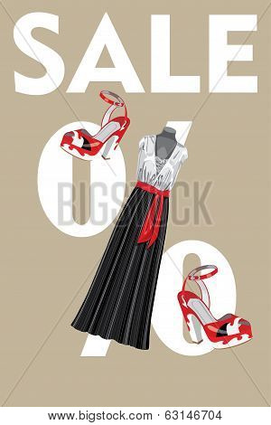Sale Design Template.combined Party Dress And High Heeled Shoes