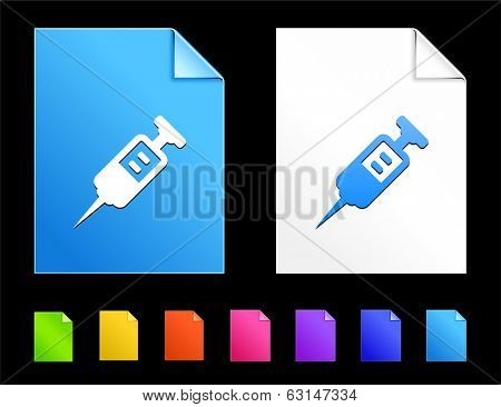 Injection Icons on Colorful Paper Document Collection