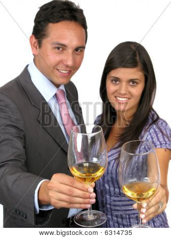 Happy Businesspeople With Champagne