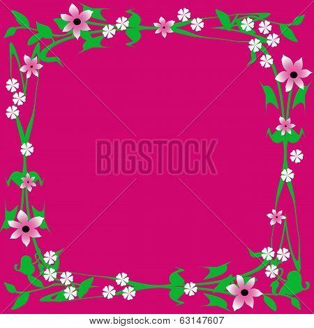 flower frame on fuchsia