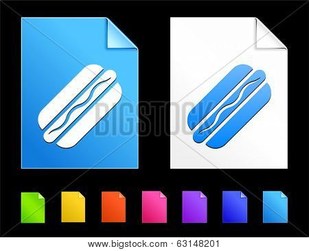 Hotdog Icons on Colorful Paper Document Collection