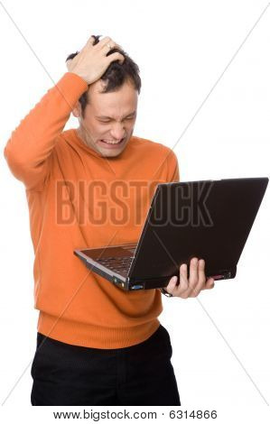 Man Despairing With Computer