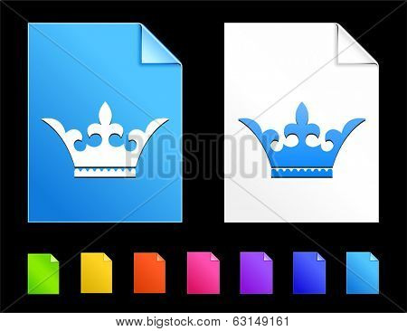 Crown Icons on Colorful Paper Document Collection