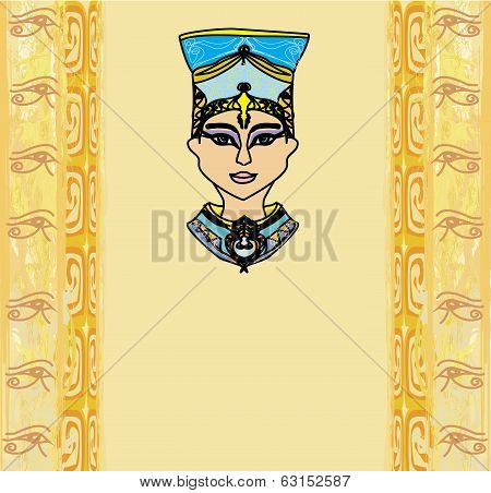 Grunge Frame With Egyptian Queen