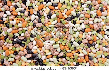 Mixed Dried Beans Abstract Background Texture